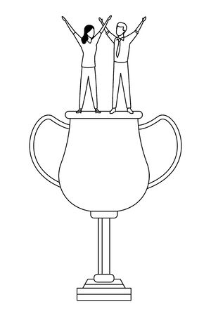 trophy cup award with business people on top icon cartoon in black and white vector illustration graphic design