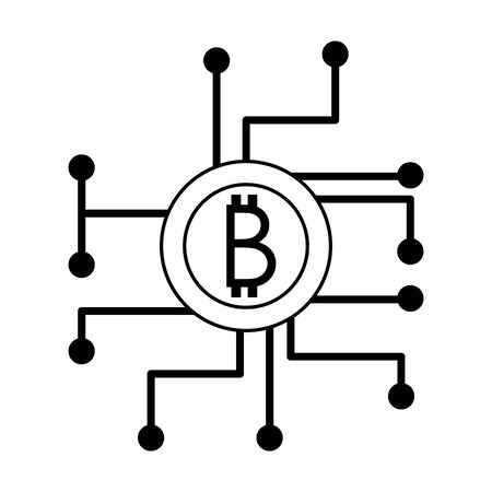 Bitcoin cryptocurrency coin and microchip circuit symbol vector illustration graphic design 일러스트