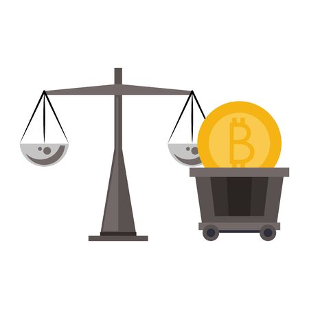 Bitcoin cryptocurrency coin in cart and weight balance vector illustration graphic design 일러스트