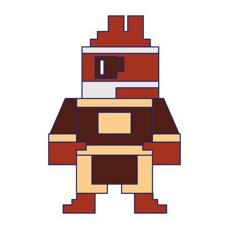 Videogame pixelated ninja character symbol vector illustration graphic design