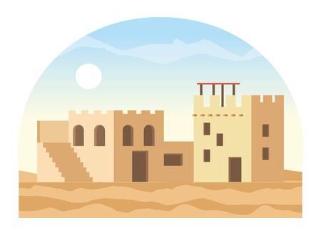 oriental antique aged desert buildings cartoon vector illustration graphic design Banque d'images - 129327058