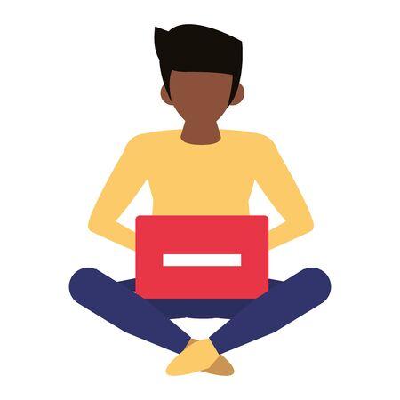 man using laptop computer technology cartoon vector illustration graphic design