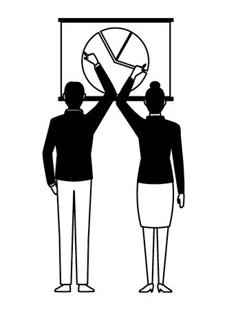 business business people businessman and businesswoman back view pointing a data chart avatar cartoon character in black and white Stock Illustratie