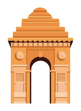 indian building monuments with gateway of india icon cartoon vector illustration graphic design