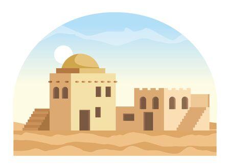 oriental antique aged desert buildings cartoon vector illustration graphic design Banque d'images - 129327073