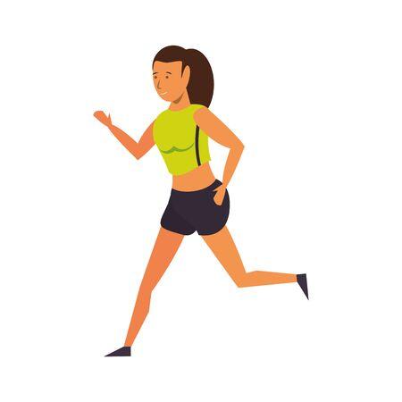 Fitness woman running cartoon isolated vector illustration graphic design