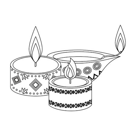 Ugadi indian celebration emblems candle and oil cartoons vector illustration graphic design Illustration