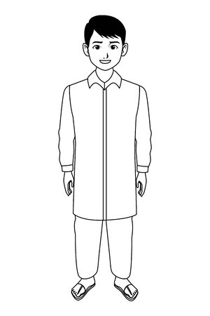 indian young boy wearing traditional hindu clothes profile picture avatar cartoon character portrait in black and white vector illustration graphic design Banque d'images - 129366701