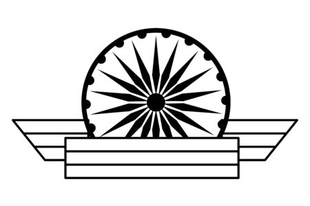 ashoka chakra symbol with ribbon icon cartoon in black and white vector illustration graphic design