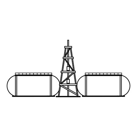 oil refinery gas factory industry petrochemical petroleum oil rig plant with storage tanks cartoon vector illustration graphic design