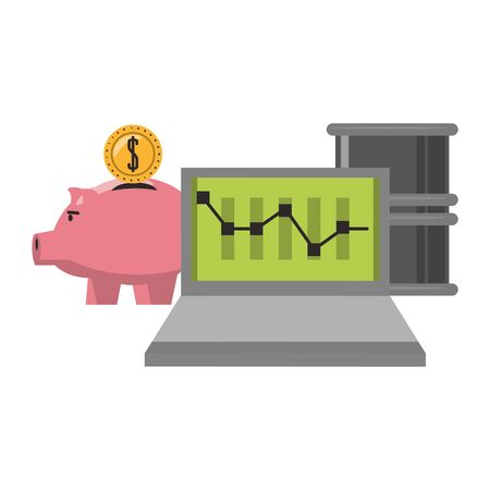 Online stock market investment piggy and laptop with petroleum barrel symbols vector illustration
