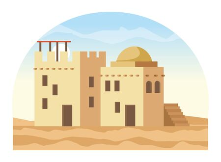 oriental antique aged desert buildings cartoon vector illustration graphic design Illustration