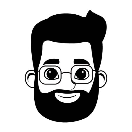young man with beard wearing glasses profile picture avatar cartoon character vector illustration graphic design Banque d'images - 129366873
