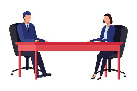 business couple avatar cartoon chararcter sitting on a desk vector illustration graphic design Çizim
