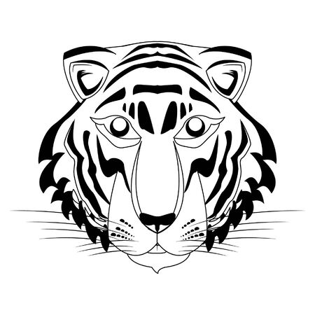 bengal tiger face icon cartoon vector illustration graphic design Illustration