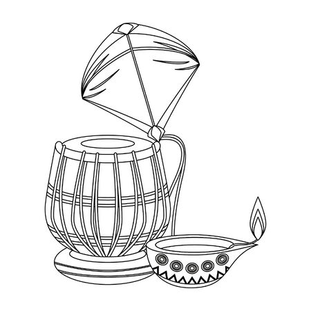 Indian tabla drum with kite and oil candle vector illustration graphic design