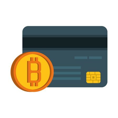 Bitcoin cryptocurrency creditcard and coin symbols vector illustration graphic design