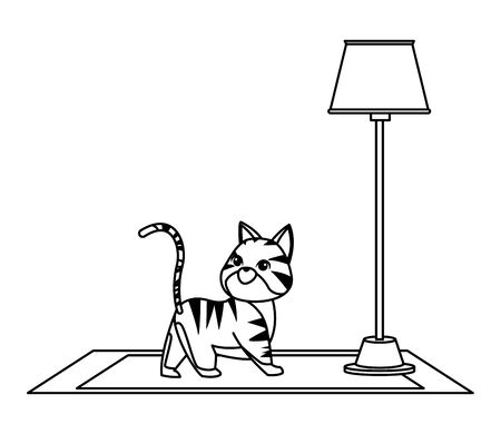 domestic animals and pet with cat over a carpet and floor lamp icon cartoon in black and white vector illustration graphic design  イラスト・ベクター素材