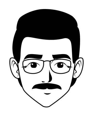 indian man face with moustache and glasses profile picture avatar cartoon character portrait in black and white vector illustration graphic design Banque d'images - 129367800