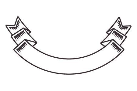 ribbon banner drawn in black and white tattoo icon vector illustration graphic design  イラスト・ベクター素材