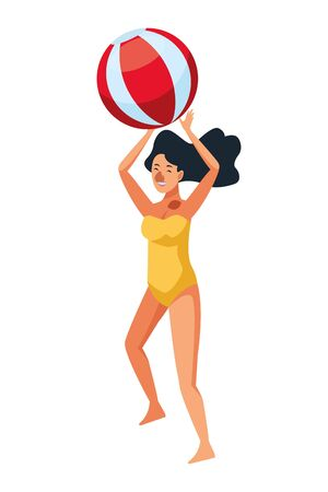 Young woman in summer time playing with beach ball vector illustration graphic design Standard-Bild - 129367806