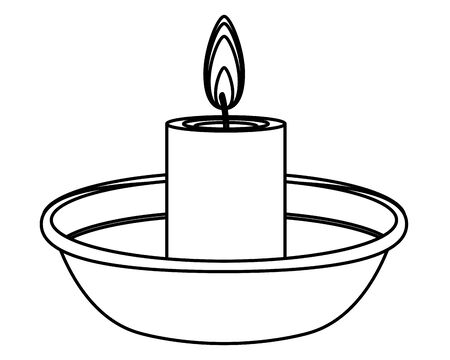 lit candle on a bowl icon cartoon isolated in black and white vector illustration graphic design Иллюстрация