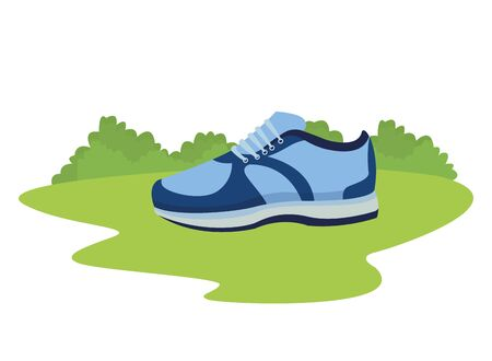 sneaker with shoelance icon cartoon ourdoor in the ground Stockfoto - 129367893
