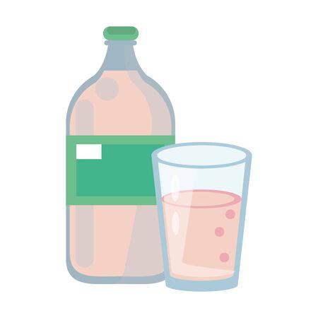 healthy drink juice nature glass with bottle cartoon vector illustration graphic design Иллюстрация