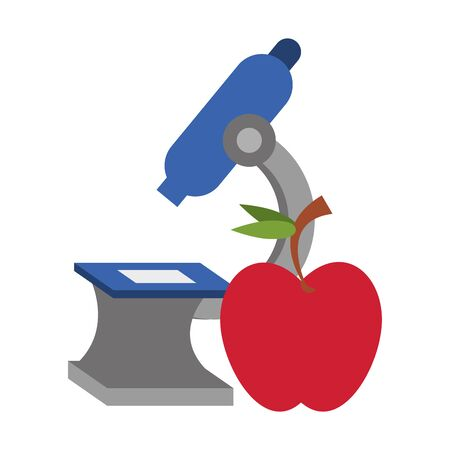 Back to school education microscope and apple cartoons vector illustration graphic design