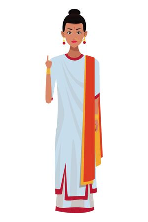indian woman wearing traditional hindu clothes woman with sari and jewelry profile picture avatar cartoon character portrait vector illustration graphic design Banque d'images - 129369717