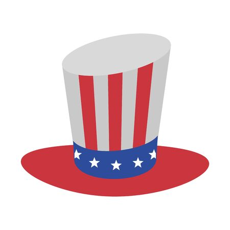 usa american independence 4th july patriotic happy celebration united states hat isolated cartoon vector illustration graphic design