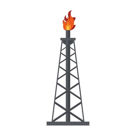 Petroleum oil refinery plant pump with flame isolated symbol vector illustration graphic design