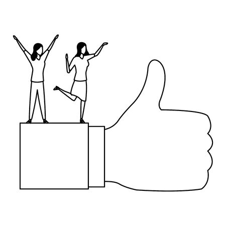 businesswoman standing on a thumb up like with suit sleeve icon cartoon in black and white vector illustration graphic design
