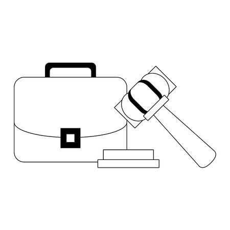 Justice gavel and briefcase symbols in black and white vector illustration Illustration