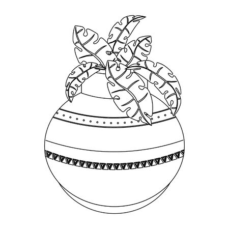 leaves in decorative pot cartoon isolated vector illustration graphic design Ilustrace
