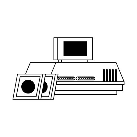Retro videogame console with cassettes vector illustration graphic design
