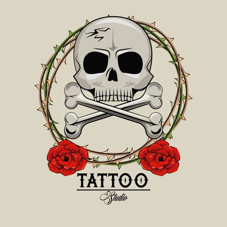 Tattoo studio old school drawings skull and roses emblem vector illustration graphic design Stock Illustratie