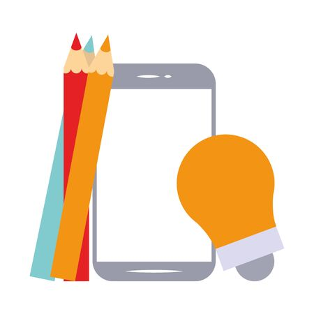 elearning and education smartphone and bulb light with colors pencils symbols vector illustration graphic design