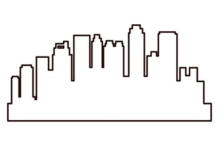 Cityscape urban city edifices,skyscrapers and business buildings in black and white vector illustration graphic design. Иллюстрация