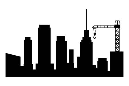Cityscape building and construction crane silhouette vector illustration graphic design.