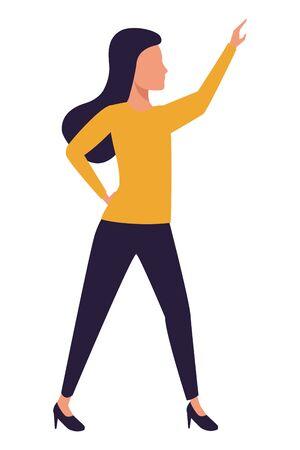 Executive businesswoman with arm up ,vector illustration graphic design. Çizim