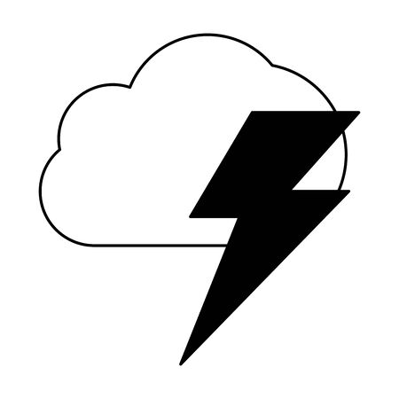 air cloud with thunder cartoon vector illustration graphic design in black and white