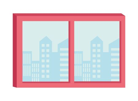Windows with cityscape view cartoon ,vector illustration graphic design.