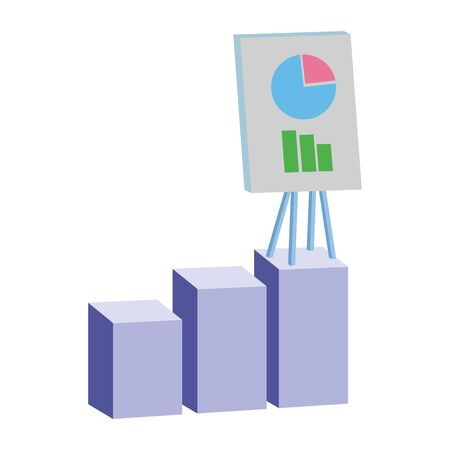 Office elements and business symbols statistics bars and graphs on whiteboard ,vector illustration graphic design.