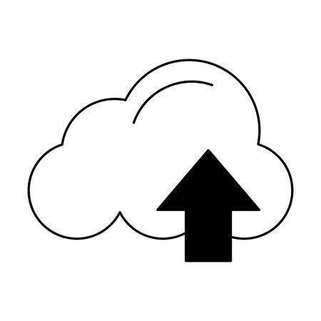 air cloud virtual upload cartoon vector illustration graphic design in black and white 일러스트