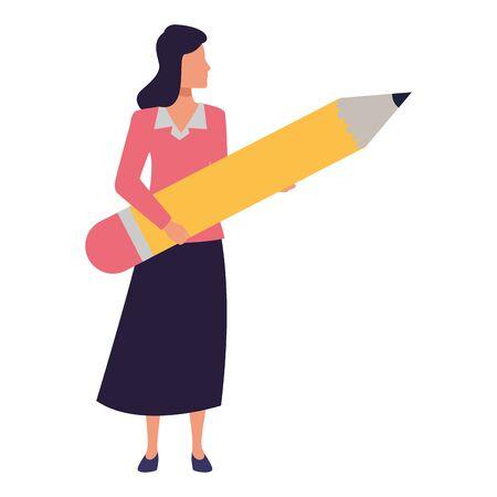 Executive businesswoman holding big pencil ,vector illustration graphic design.