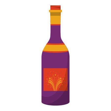 champagne bottle celebration drink isolated cartoon vector illustration graphic design