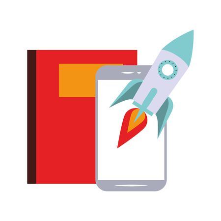 elearning and education smartphone spaceship and book symbols vector illustration graphic design