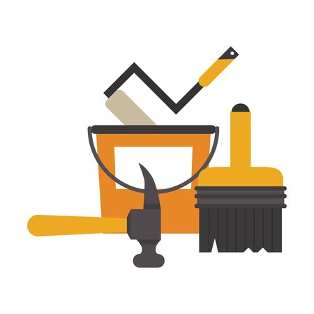 Construction tools paint bucket and brush with hammer vector illustration graphic design