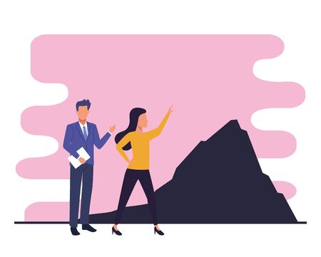 Two business partners working, executive entrepreneur teamwork walking to mountain peak ,vector illustration graphic design.